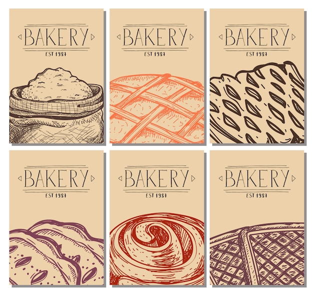 Cubierta de menú de restaurante dibujado a mano de panadería
