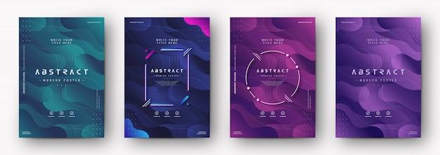 Cubierta moderna del cartel con gradiente textura abstracta