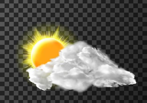 Cubierta de nubes de luz solar en transparente