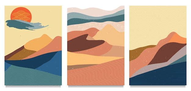 Cubierta de paisaje de montaña abstracta