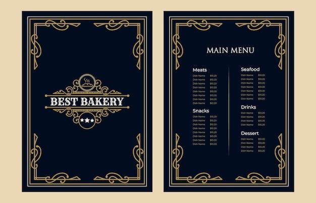Cubierta de plantilla de tarjeta de menú de comida de panadería vintage de lujo con logotipo para cafetería bar cafetería del hotel