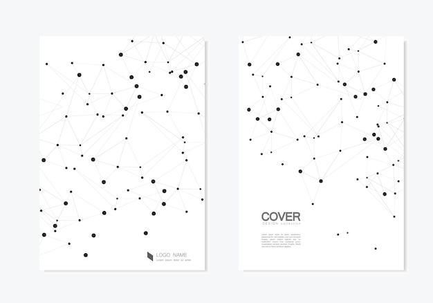 Cubierta poligonal abstracta con puntos y líneas conectadas