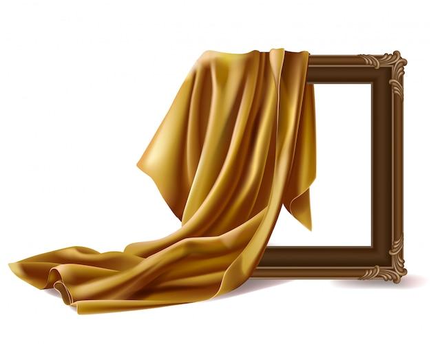 Cubierta de tela de seda roja marco de fotos de madera aislado