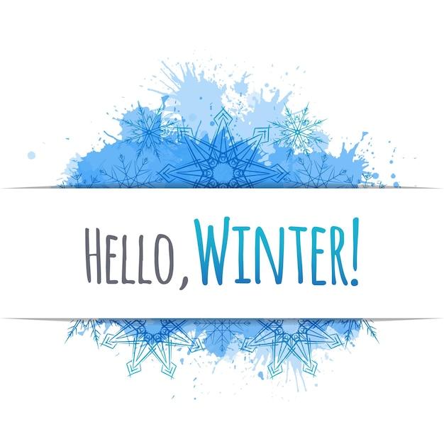Cubierta de vector de invierno con copos de nieve de doodle y manchas azules para yo