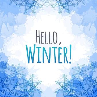Cubierta de vector de invierno con copos de nieve de doodle y manchas azules para y