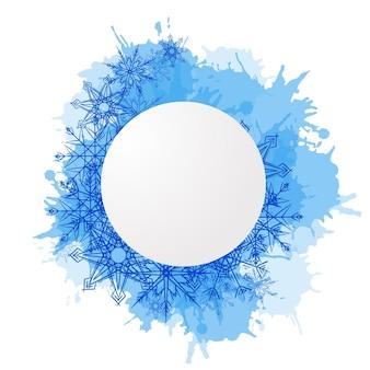 Cubierta de vector de invierno con copos de nieve de doodle y manchas azules