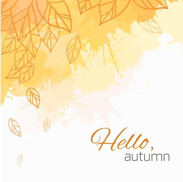 Cubierta de vector de otoño con hojas de doodle, manchas amarillas y texto. hola otoño