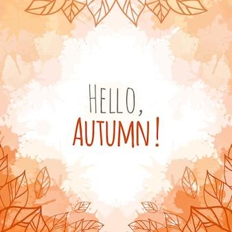Cubierta de vector de otoño con hojas de doodle y manchas y salpicaduras de color naranja