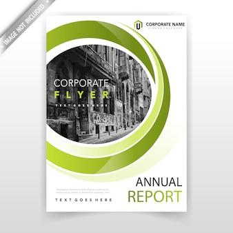 Cubierta verde del folleto del negocio ondulado