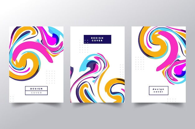 Cubiertas abstractas con colección de formas onduladas