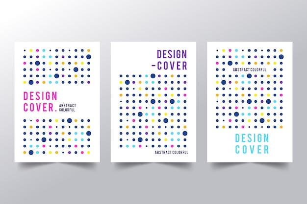 Cubiertas abstractas con colección de puntos coloridos