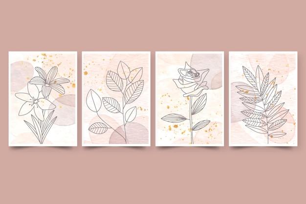 Cubiertas de acuarela dibujadas a mano con plantas.