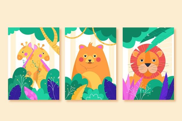Cubiertas de animales salvajes de diseño plano.
