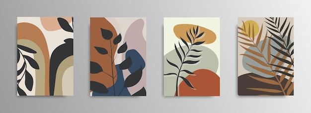 Cubiertas de carteles de hojas tropicales abstractas. fondo abstracto. patrón de moda de flores tropicales. palma, hojas exóticas. valores .