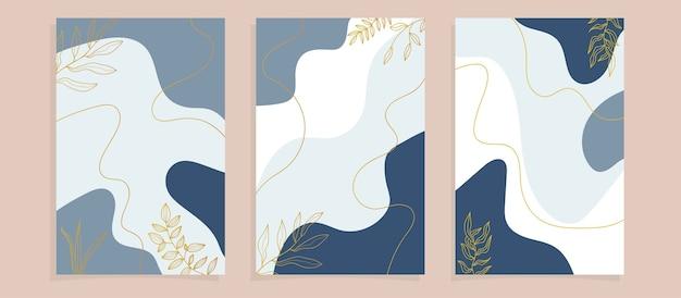 Cubiertas de carteles de hojas tropicales abstractas