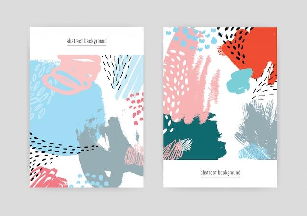 Cubiertas creativas con patrón abstracto, texturas de doodle dibujado a mano. fondo colorido con lugar para el texto.