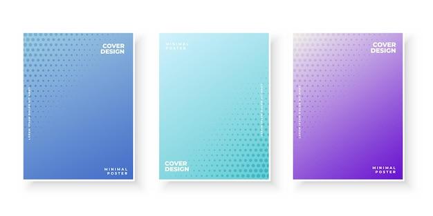 Cubiertas de degradado de colores con conjunto abstracto de puntos