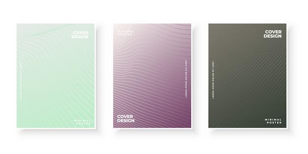 Cubiertas de degradado de colores con conjunto de diseño de patrón de línea