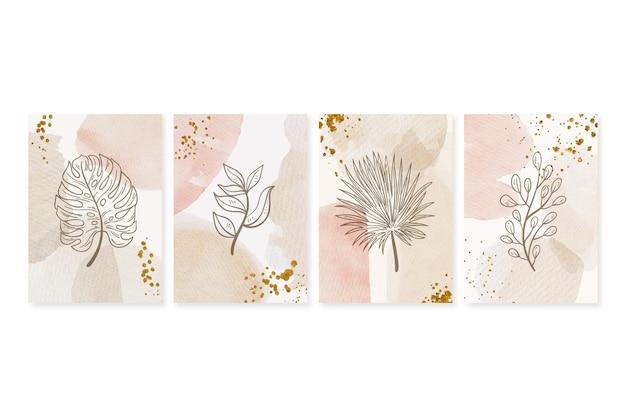 Cubiertas dibujadas a mano minimalistas en acuarela pintadas a mano