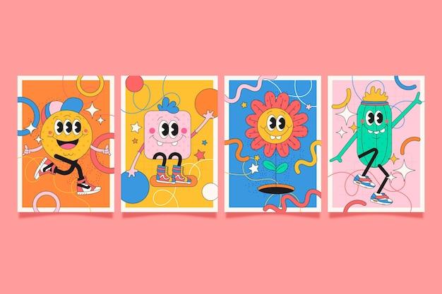 Cubiertas de dibujos animados de moda de diseño plano dibujado a mano