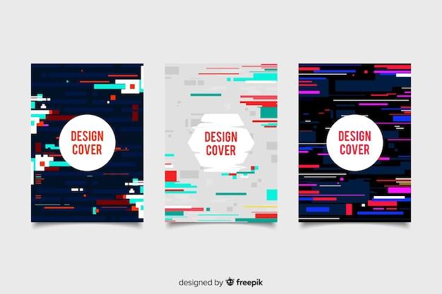 Cubiertas de diseño con efecto glitch colorido