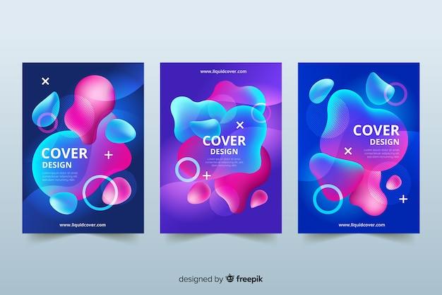 Cubiertas de diseño con efecto líquido colorido.