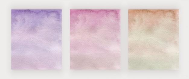 Cubiertas de diseño de trazo de pincel de acuarela púrpura, rosa y dorado.
