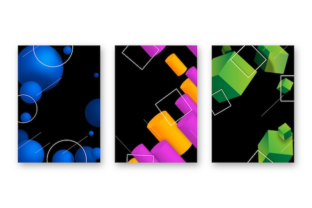 Cubiertas de formas geométricas 3d sobre fondo oscuro