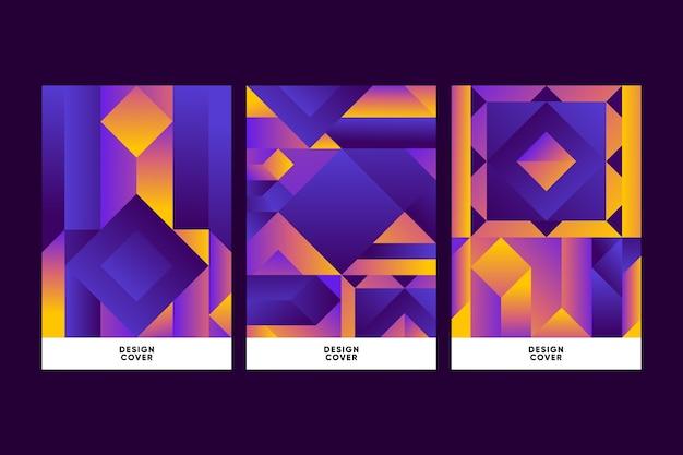 Cubiertas de formas geométricas gradientes en concepto de fondo oscuro