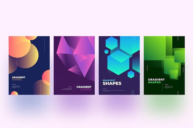 Cubiertas de formas geométricas gradientes en diseño de fondo oscuro