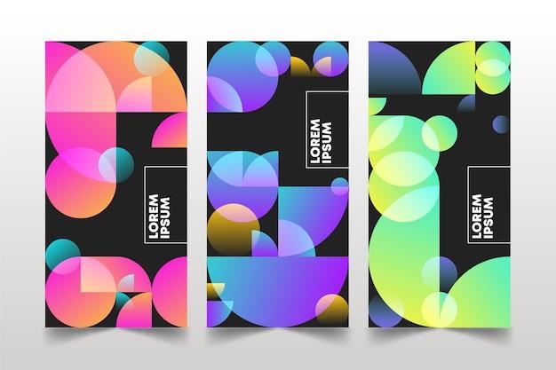 Cubiertas de formas geométricas gradientes sobre fondo oscuro