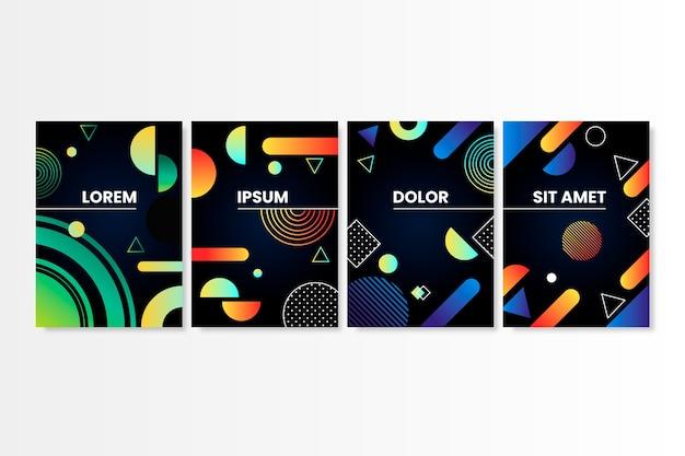Cubiertas de formas gradientes en diseño de fondo oscuro