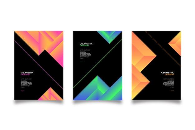 Cubiertas de formas gradientes sobre fondo oscuro