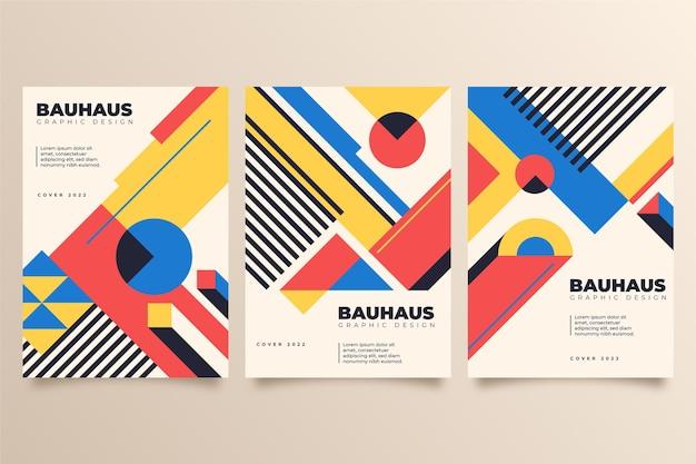Cubiertas geométricas coloridas con formas abstractas