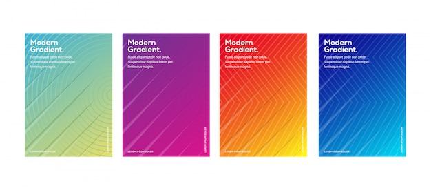 Cubiertas mínimas de diseño de plantillas. gradientes de semitono de colores geométricos.