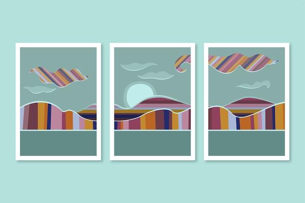 Cubiertas de paisajes abstractos dibujados a mano