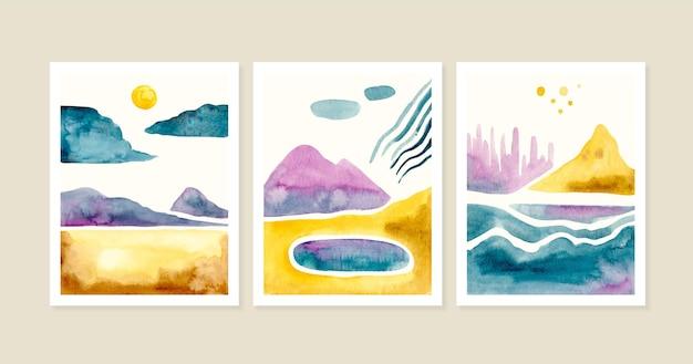 Cubiertas de paisajes minimalistas en acuarela