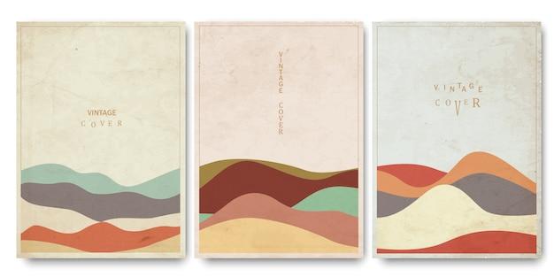 Cubiertas de plantillas con curvas geométricas texturizadas dibujadas a mano estilo oriental oriental