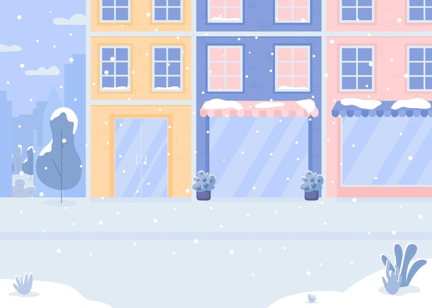 Cubierto con ilustración de color plano de calle de nieve
