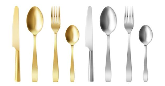 Cubiertos 3d de tenedor, cuchillo y cuchara de color dorado y plateado.