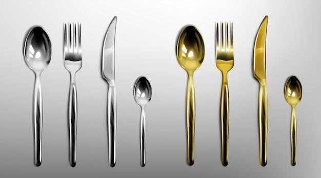 Cubiertos 3d de tenedor, cuchillo, cuchara y cucharilla de color dorado y plateado.