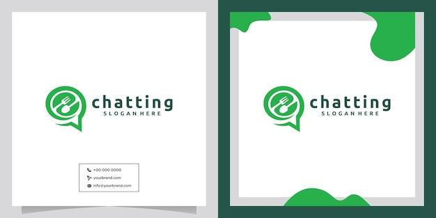 Cubiertos cocina herramienta chat diseño de logotipo
