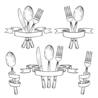 Cubiertos, cubiertos, utensilios de mesa.