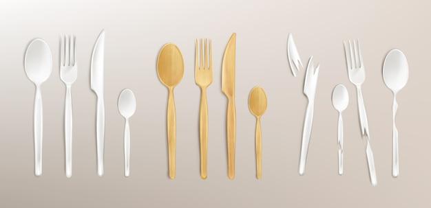 Cubiertos de madera 3d y plástico roto, tenedor, cuchara y cuchillo desechables. ajuste de la tabla biodegradable de bambú aislado hecho de material reutilizable reciclado ecológico natural, ilustración realista, juego