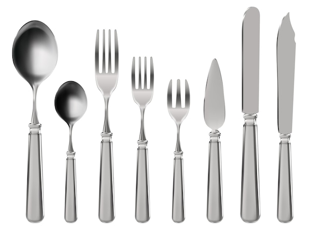 Cubiertos realistas. vajilla, cuchillo, cuchara y tenedores de acero inoxidable.