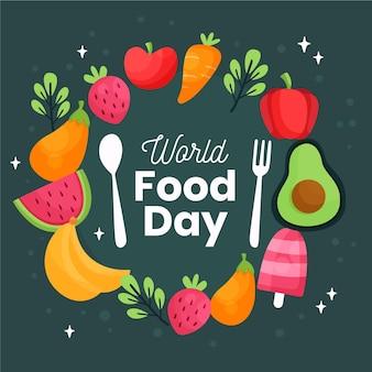 Cubiertos con verduras y frutas concepto del día mundial de la alimentación