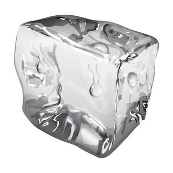 Cubito de hielo opaco con gotas de agua en colores grises