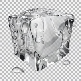 Cubito de hielo transparente con gotas de agua en colores grises