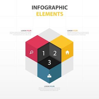 Cubo 3d con elementos de infografía