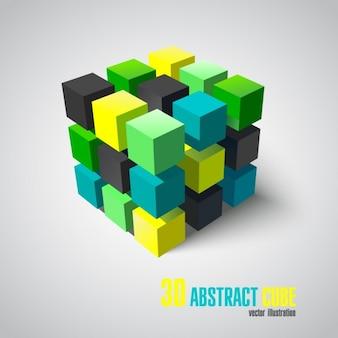 Cubo abstracto en 3d